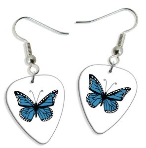 Blue Butterfly 2 X Gitarre Plektrum Pick Ohrringe